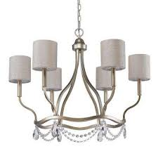 margaret 6 light indoor washed gold chandelier with fabric shades