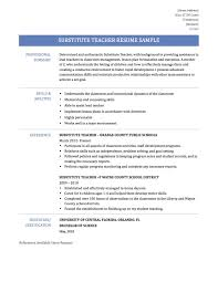 Substitute Teacher Resume Examples Awesome Example Substitute