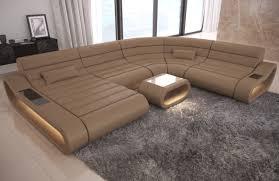Details About Sofa Couch Xxl Echtleder Garnitur Concept Ottomane Ledersofa Led Wohnlandschaft