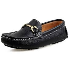 skoex boy s leather loafers slip on boat shoes