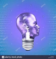 Binary Light Bulbs Head Light Bulb With Binary Code Stock Photo 238653396 Alamy