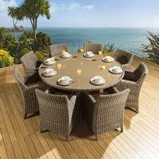 rattan garden outdoor dining set round table 8 chairs brown beige