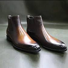 A traditional pair of chelsea boots has a leather sole. Amazon Com Handmade Leather Dress Boots For Men Brown Leather Men Chelsea Boots Handmade