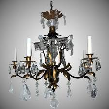 bagues five light rock crystal beaded two tone gilt paa chandelier
