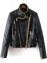 zip and buckle design faux leather jacket black s