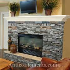 Shows a white mantle with the darker gray stone. Fireplace surround, simple  mantle, raised hearth, stone colour (grey w/ brown accents)