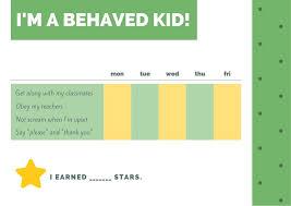 Green And Yellow Simple Star Preschool Reward Chart