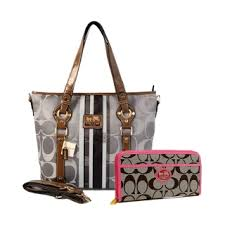 Coach Logo In Signature Medium Grey Totes BET+Pink Wallets EUW