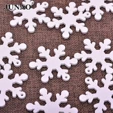 junao 50mm white wooden snowflakes pendants ornaments xmas tree hanging diy wood decorations for home d18110704 large