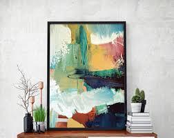 BLUE ABSTRACT Art Print - Large Abstract Art A3 + A4 Print Fine Art Poster -