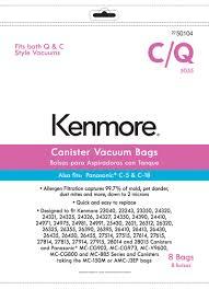 kenmore vacuum bags 50403. kenmore km48751-12 canister vacuum bag for c, q; panasonic™ c-5 \u0026 c-18 - 8 pk bags 50403