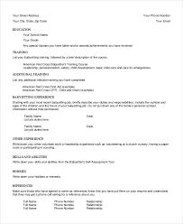 Resumes For Babysitters Babysitter Resume Template 6 Free Word Pdf Documents Download