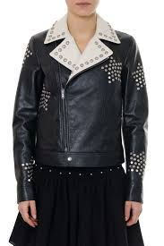 saint lau black leather biker jacket embroidered with studs in black ivory