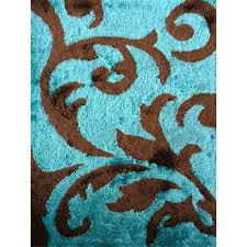 rug addiction hand tufted polyester turquoise and brown area for plan 0