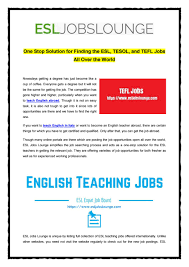 Finding The Esl Tesol And Tefl Jobs All Over The World By