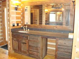 discount bathroom vanity cabinet design in rustic hickory wood of custom made ideas with combined gray stone granite marble countertop and single round bowl bathroom vanity lighting ideas combined