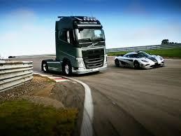volvo trucks 2015. volvo fh semi truck races a koenigsegg u201cmegacaru201d around track yes really trucks 2015