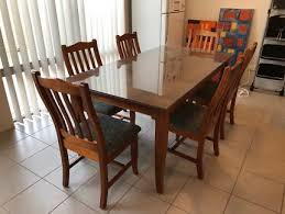 6 chair and hard wood dining table