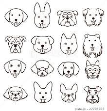 かわいい犬の顔セット 線画のイラスト素材 27795907 Pixta