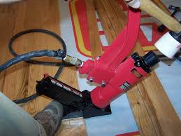 flooring nailer in action