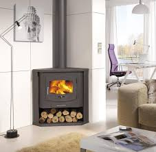 Simplify Your Indoor Warming Stuff with Corner Wood Burning Stove for  Gorgeous Interior Nuance