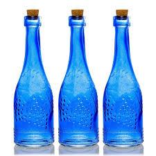 3 pack 6 6 stella blue vintage glass bottle with cork diy wedding flower bud vases
