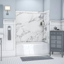 flexstone elite 32 in x 60 9 piece easy up adhesive mustee topaz white fiberglass bathtub wall surround common 30