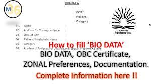 How To Fill Bio Data Kvs Interview Bio Data Obc Certificate Noc Interview Preparation