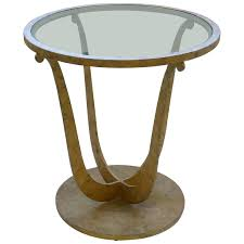art deco gilt metal round gueridon table with clear glass insert for