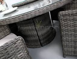 richmond 6 seater rattan round table dining furniture set mix brown