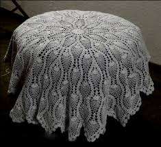 for details 36 inch round hand crocheted tablecloth