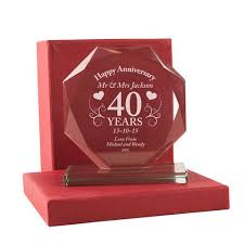 personalised 40th anniversary cut gl gift 40th anniversary gift ideas engraved anniversary glware