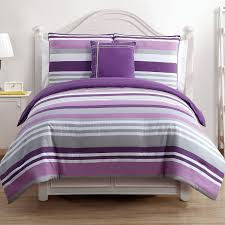 interior purple grey and white striped bedding bed on white wooden bed having curved white