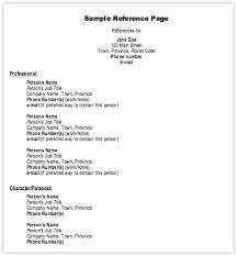 Resume Reference List Template