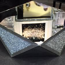 wall art decorative heart decor new diamond crush sparkle crystal mirrored coffee table