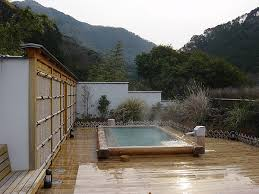 outdoor japanese soaking tub. hot tubs and spas. japanese soaking outdoor tub