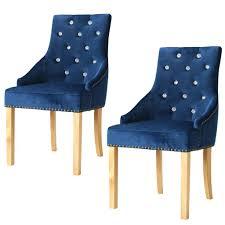 Esszimmerstühle 2 Stk Massive Eiche Und Samt Blau