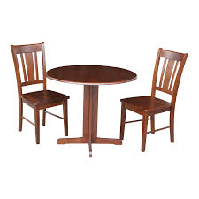international concepts dining essentials san remo espresso 3 piece dining set with round dining table