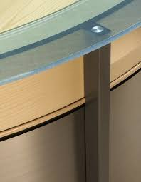 crescent reception desk with scratched glass counters maple and blasted steel