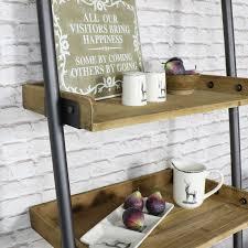 ladder style 5 shelf display unit with 1 drawer storage
