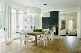 contemporary drum lighting. White Dining Room Design With Light Maple Floor And Contemporary Drum Pendant Lighting G