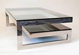 chrome coffee table. Hollywood Regency Cantilevered \u0027G\u0027 Mirror Chrome Coffee Table With Smoke Glass Tiered Shelf For