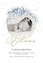 Blue Wreath Birth Announcement Template Free Greetings