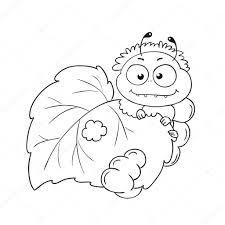 Vettore Bruco Da Disegnare Per Bambini Buffo Bruco Mangia Le
