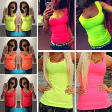 Fashion Summer Women Sexy Tops Tees <b>Candy Fluorescent Color</b> ...