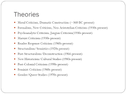 applying critical theory to literature literary criticism ppt  5 theories