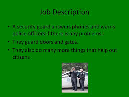 Security Guard By Maleik Bodley. Job Description A Security Guard ...