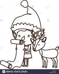 Elf With List Gifts And Reindeer Avatar Character Stock Vector Art