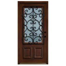 decorative iron grille 3 4 lite stained mahogany wood prehung front door
