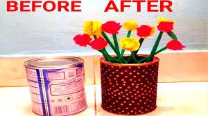 diy flower vase from baby formula cans craft with baby formula cans milk can craft ideas